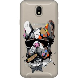 Artistic Painted Bulldog Clear Case for Samsung Galaxy J7 2017