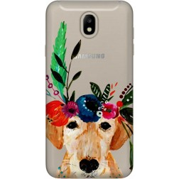Cute Dog Floral Tiara Clear Case for Samsung Galaxy J7 2017