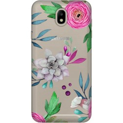 Mixed Floral Clear Case for Samsung Galaxy J7 2017