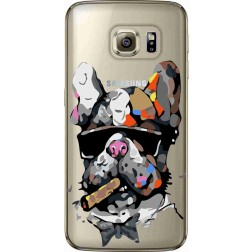 Artistic Painted Bulldog Clear Case for samsung Galaxy s6 Edge