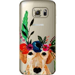 Cute Dog Floral Tiara Clear Case for Samsung Galaxy S6 Edges