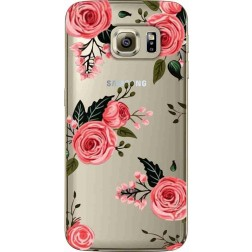 Pink Florals Clear Case for Samsung Galaxy S6