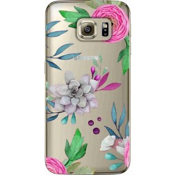 Mixed Floral Clear Case for Samsung Galaxy S6 Edge