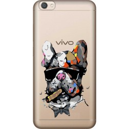 Artistic Painted Bulldog Clear Case for Vivo V5