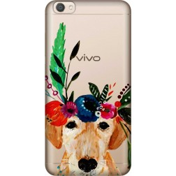 Cute Dog Floral Tiara Clear Case for Vivo V5