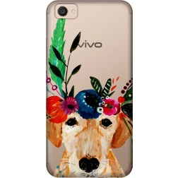 Cute Dog Floral Tiara Clear Case for Vivo V5 Plus