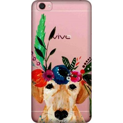 Cute Dog Floral Tiara Clear Case for Vivo Y55L