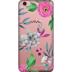 Mixed Florals Clear Case for  Vivo Y55L