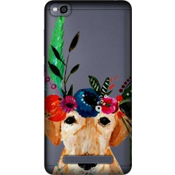 Cute Dog Floral Tiara Clear Case for Xiaomi Redmi 4A