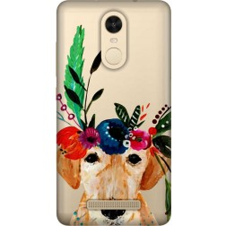 Cute Dog Floral Tiara Clear Case for Xiaomi Redmi Note 4