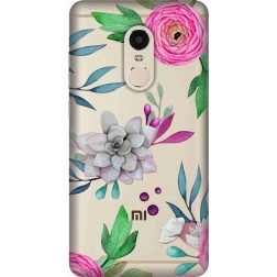 Mixed Florals Clear Case for Xiaomi Redmi Note 4
